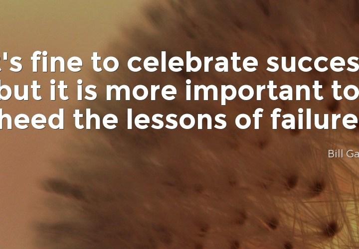 It's fine to celebrate success