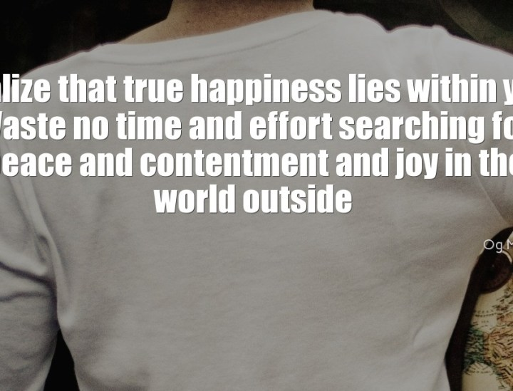 Realize that true happiness lies within you