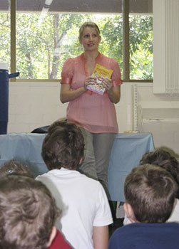 Me, pulling silly faces during my speech to entertain the kiddies (although not consciously)