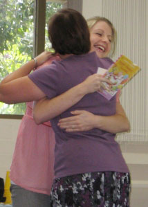 Julie, hugging me after my speech, possibly out of relief that I didn't give away anything too embarrassing...