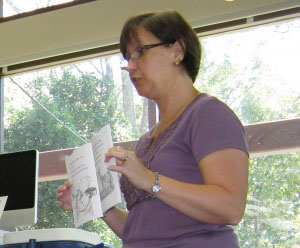 Julie doing a reading from the book