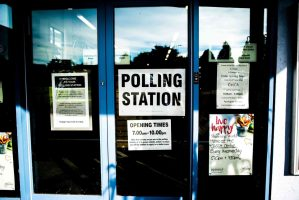 Exit through the polling station