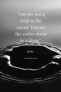 "Rumi: ""You are not a drop in the ocean. You are the entire ocean in a drop."""