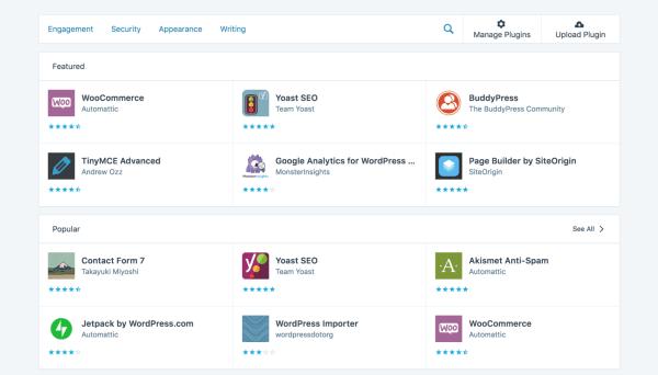 A screenshot of WordPress plugins