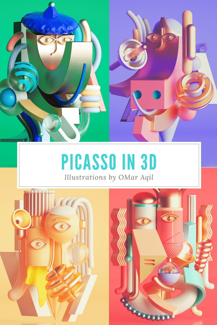 """Graphic artist Omar Aqil creates 3D artworks out of Picasso's paintings.  Says Aqil, """"Still exploring the Picasso's work and trying to add some more drama to it.""""  Click on the image to see more of his work.   picasso art, 3d illustration, drawings, #art, #creativity, #picasso"""