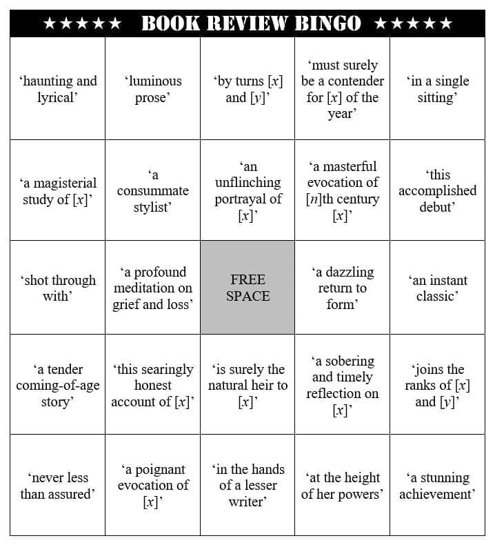 Book review bingo