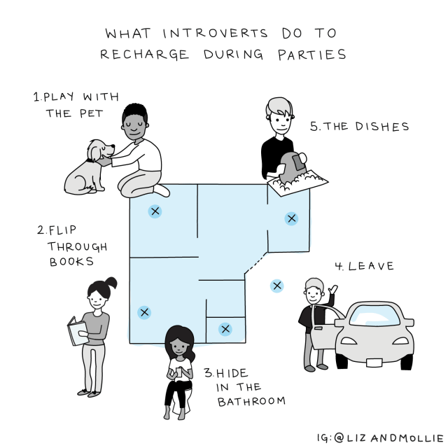 What introverts do at parties, from the book No Hard Feelings: The Secret Power of Embracing Emotion at Work