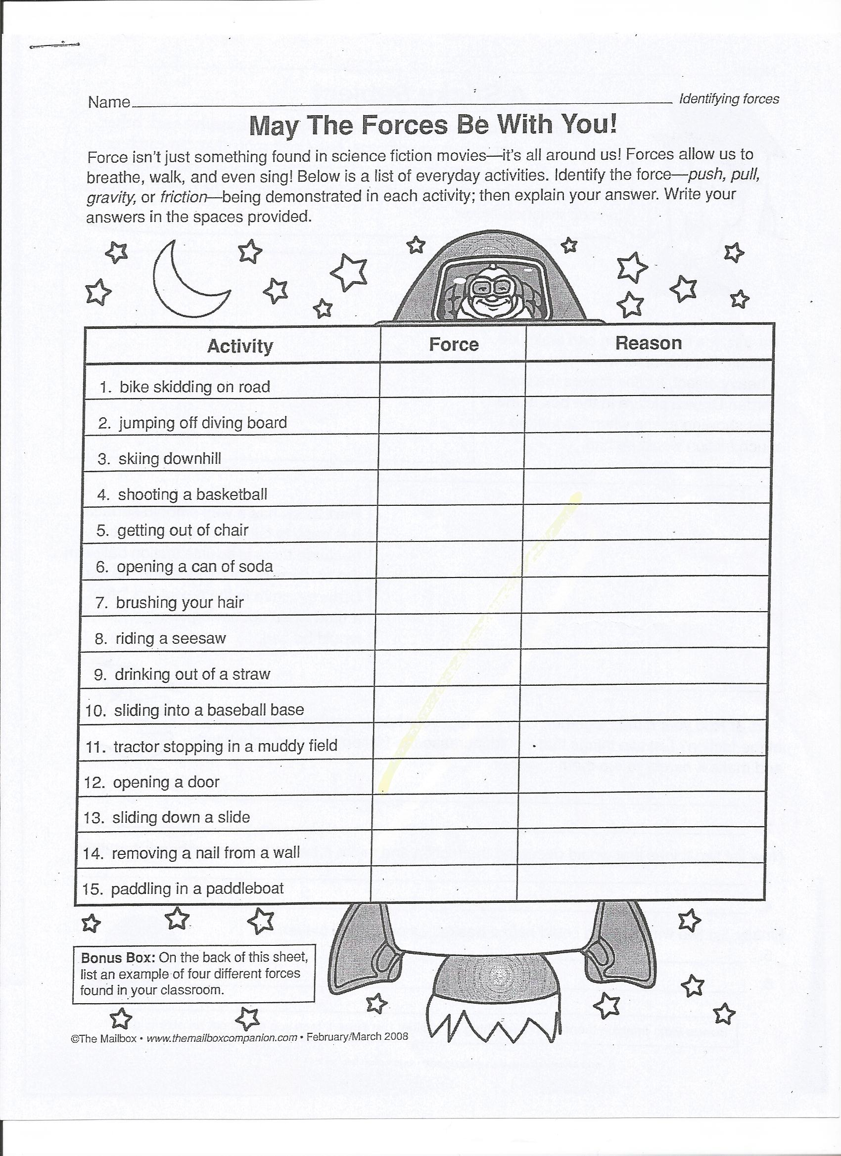 Forces And Motion Worksheet
