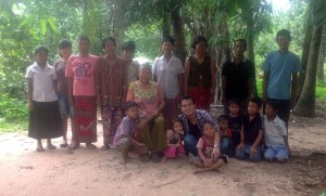 Grateful villagers give thanks to Bun for their new well