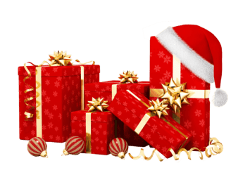 red gifts with santa hat