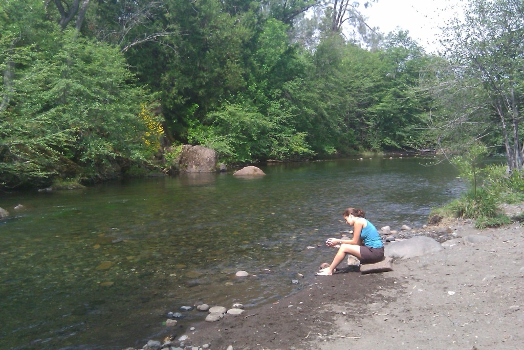 Upper Bidwell Park, Chico, California, sitting by stream, JHD