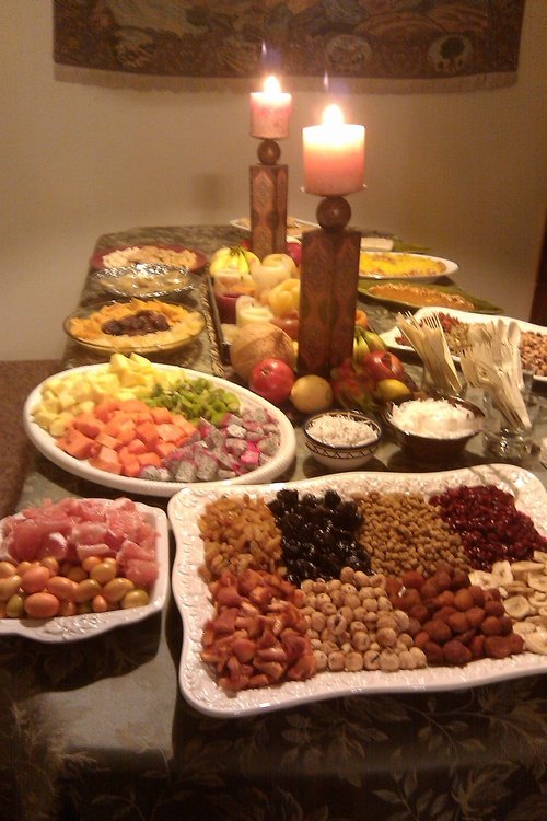 Tu Bishvat table set by Fran Halimi, JHD