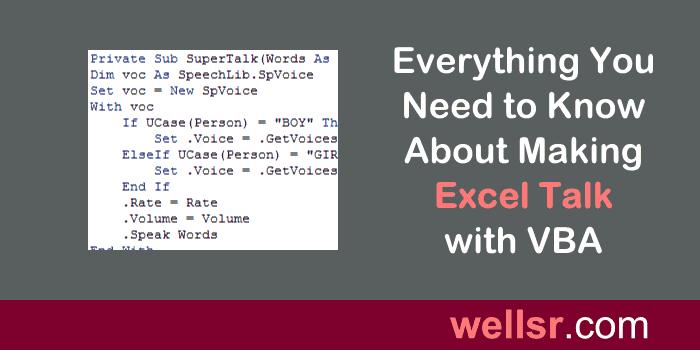 Make Excel Talk With Application Speech Speak Vba