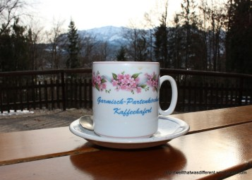 Coffee in a pretty cup at the hutte.