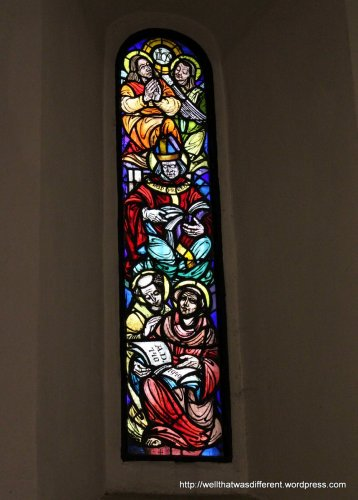 Reproduction stained glass window from 1949 (post-bombing)