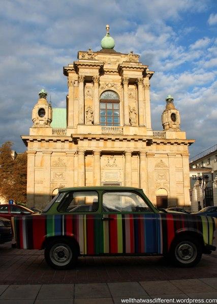 Church and an old Soviet Lada car.
