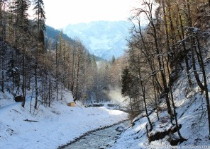 Emerging from the Gorge into a winter wonderland