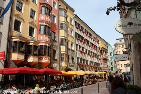 Restaurants and souvenir shops line the streets.