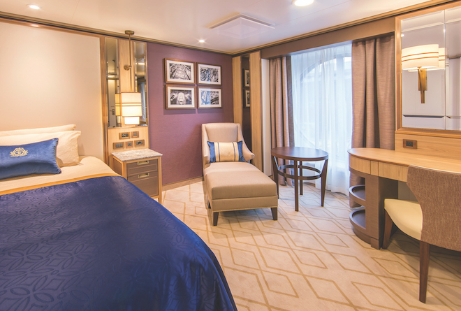 Cunard's single ocean view cabin onboard Queen Victoria, Queen Elizabeth and Queen Mary 2.