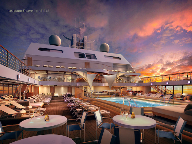 Seabourne Encore pool deck and bar. Image courtesy Seabourne.