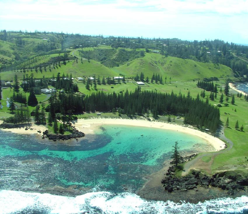Aerial view of Emily Bay. Image Norfolk Island Tourism.