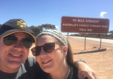 Sue and Craig Whiteman at 90 Mile Straight on the Nullarbor Plain. Image courtesy Sue Whiteman.