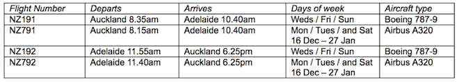 Air New Zealand Auckland to Adelaide time table.