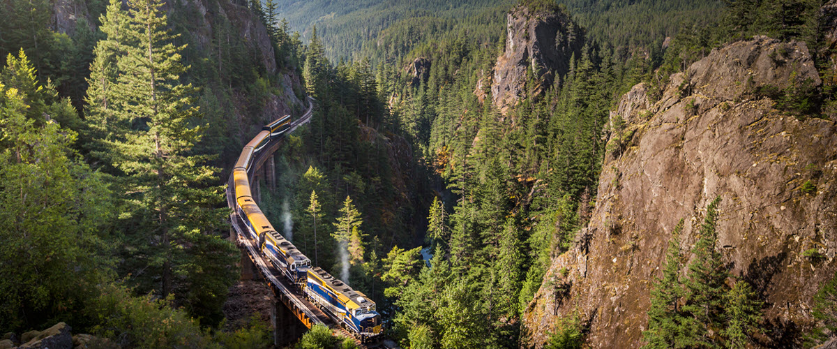 Winding through Cheakamus Canyon in the Rocky Mountains. Image courtesy Rocky Mountaineer.