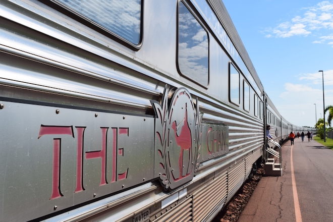 The Ghan at Darwin train station ready to depart. Image credit Jason Dutton-Smith.