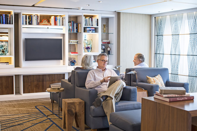 Living Room and Library onboard Viking Star with free Wi-Fi for all guests.