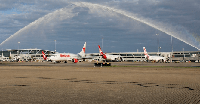 Malindo Air touching down in Brisbane.