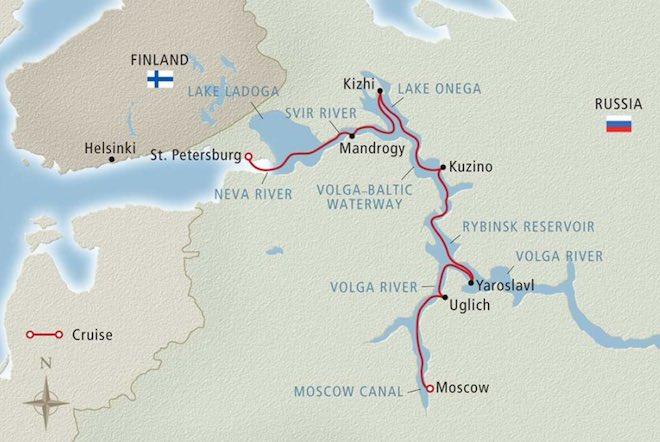 Viking Waterways of the Tsars, Russia map