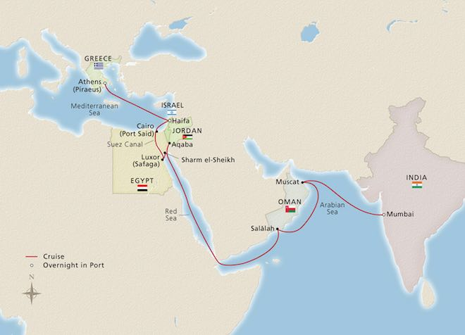 Viking - Passage to India route map.