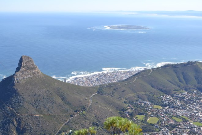 View from Table Mountain in Cape Town, looking out towards Robben Island - Image John Sutherland.