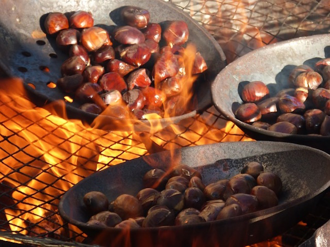Roasting chestnuts are a Christmas market favourite