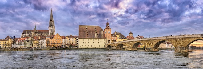 Bridges and towns along the Danube River