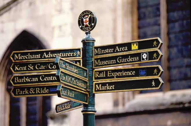 Well placed street signs make exploring York pure pleasure - Image credit Andrew Marshall