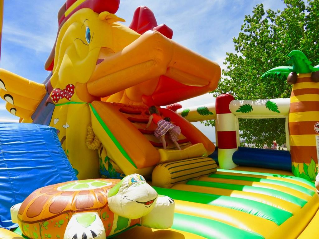 Bouncy castle fun on the Sunny Beach Promenade, Bulgaria