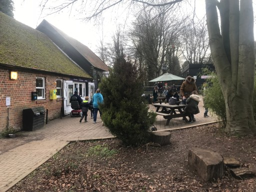 Weald Country Park shop and store entrance with picnic tables outside