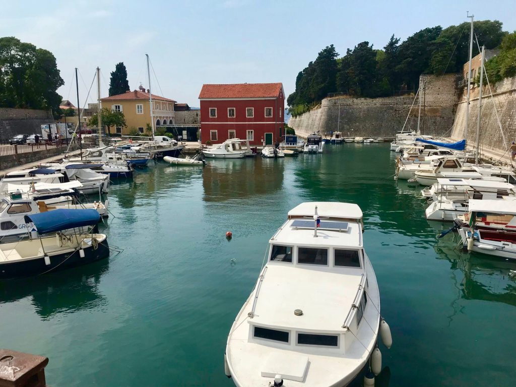 Harbour at the Land Gate in Zadar with kids