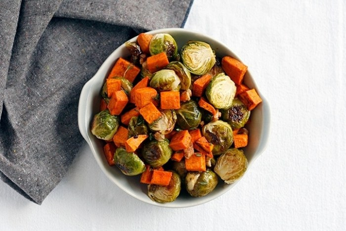 Maple Roasted Sweet Potatoes and Brussels Sprouts