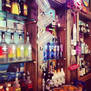full stocked bar at the River Shack in Maryland