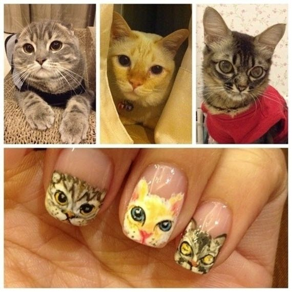 cats painted on nails