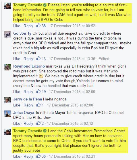 Roxas role in Cebu BPO Industry according to Tomas Osmena