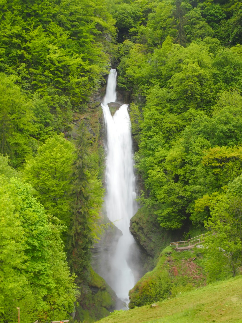 Waterfall with the spring snow melt towards Servoz