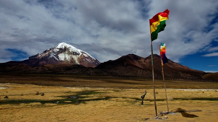 Flags flying on the altiplano in Bolivia