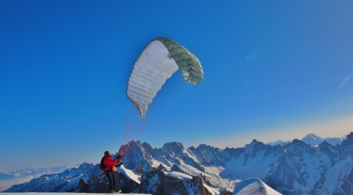 Flying at the top of the Aiguille du Midi