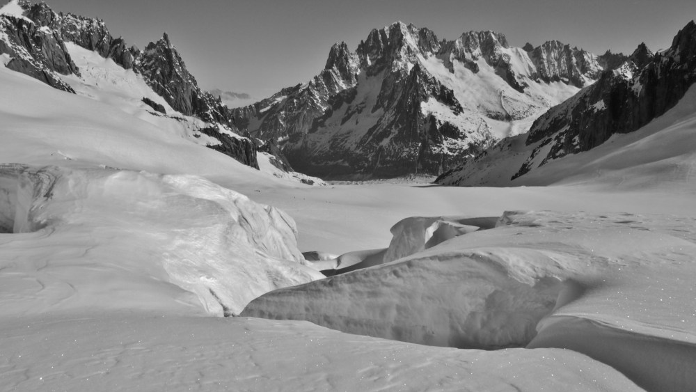 Crevasses in front of the view down to the Vallee Blanche