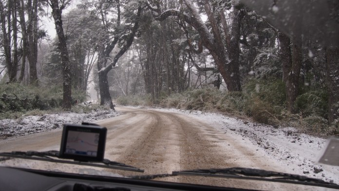 Snow falling on Nevados de Chillan access road