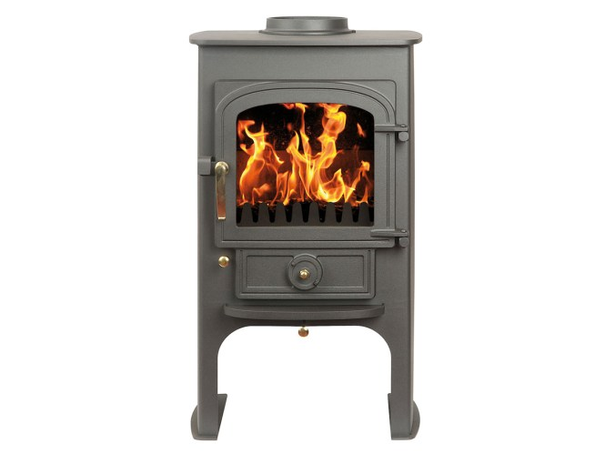 Charcoal Clearview Pioneer Wood Burning Stove In Corner Fireplace With Twinwall Flue Safety First